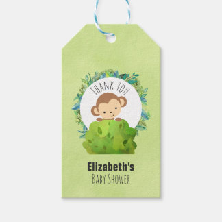 Monkey Peeking Out from Behind a Bush Thank You Pack Of Gift Tags