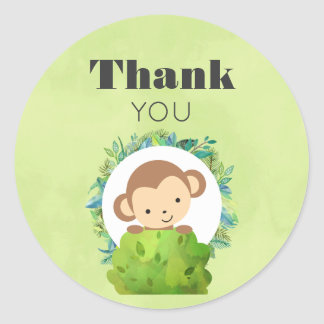 Monkey Peeking Out from Behind a Bush Thank You Round Sticker