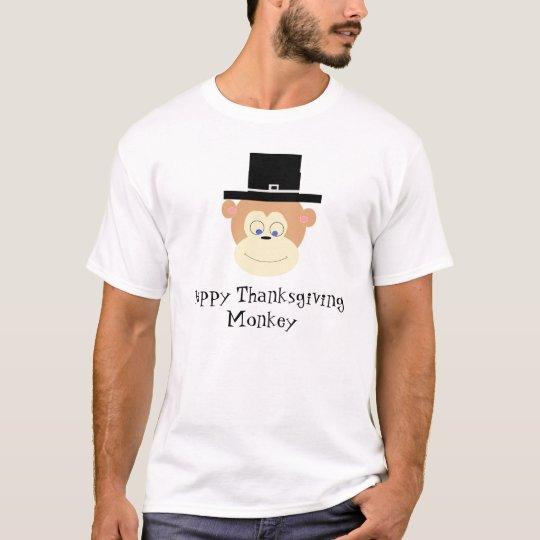 Monkey Pilgrim, Happy Thanksgiving Monkey T-Shirt