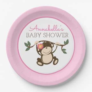 Monkey Play Girl Baby Shower Plate 9 Inch Paper Plate
