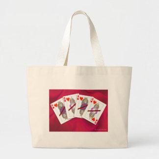 Monkey Playing Cards Large Tote Bag