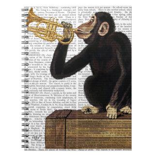 Monkey Playing Trumpet 2 Spiral Notebook