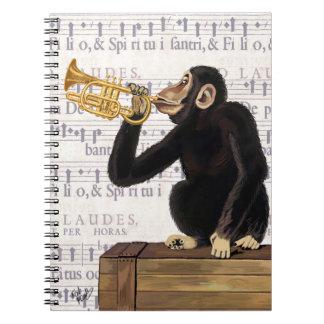 Monkey Playing Trumpet Spiral Notebook