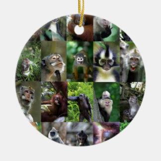 Monkey primate montage ceramic ornament