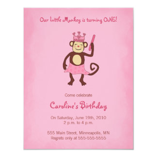 Monkey Princess 1st Birthday Invitation