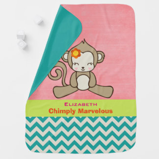 Monkey Pun Cute And Funny Personalized Stroller Blanket