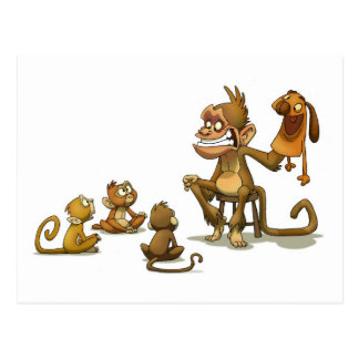 Monkey Puppet Postcard