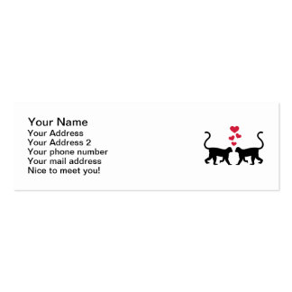 Monkey red hearts love mini business card