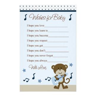 Monkey Rocker/Rockstar Wishes for Baby Shower Stationery