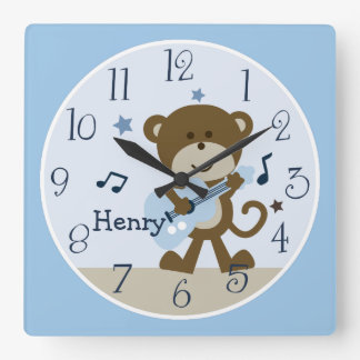 Monkey Rockstar/horloge de crèche du bébé d'enfant Horloge Carrée