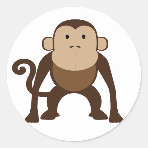 Monkey Round Sticker