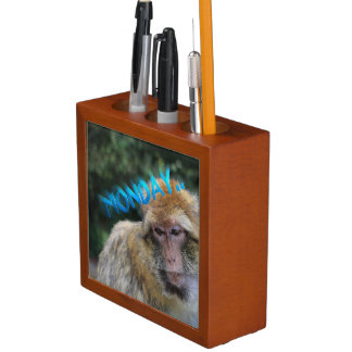 Monkey sad about monday desk organizer