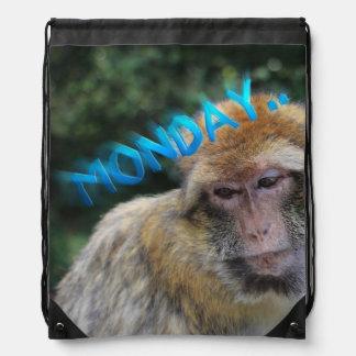 Monkey sad about monday drawstring bag