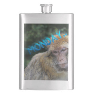 Monkey sad about monday hip flask