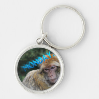 Monkey sad about monday keychain