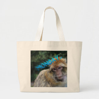Monkey sad about monday large tote bag