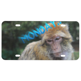 Monkey sad about monday license plate