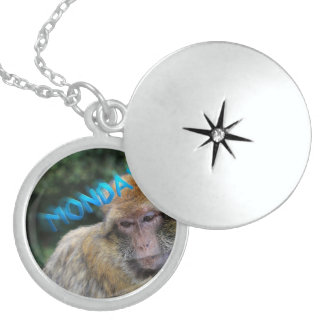 Monkey sad about monday locket necklace