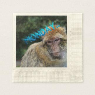 Monkey sad about monday napkin