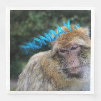 Monkey sad about monday paper dinner napkin