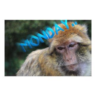 Monkey sad about monday personalized stationery