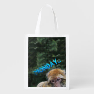 Monkey sad about monday reusable grocery bag