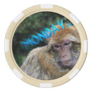 Monkey sad about monday set of poker chips