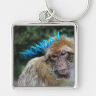 Monkey sad about monday Silver-Colored square keychain