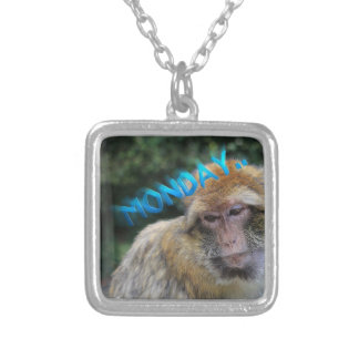 Monkey sad about monday silver plated necklace