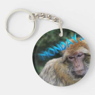 Monkey sad about monday Single-Sided round acrylic keychain