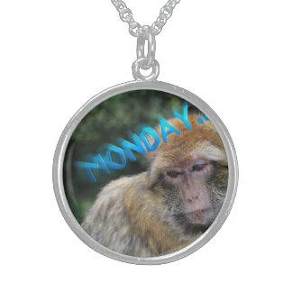 Monkey sad about monday sterling silver necklace
