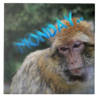 Monkey sad about monday tile