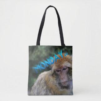Monkey sad about monday tote bag