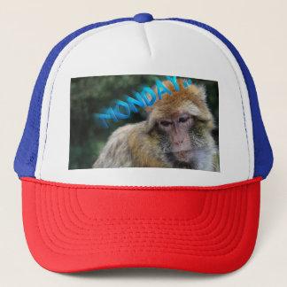 Monkey sad about monday trucker hat