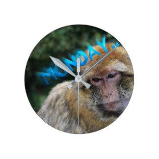 Monkey sad about monday wall clocks