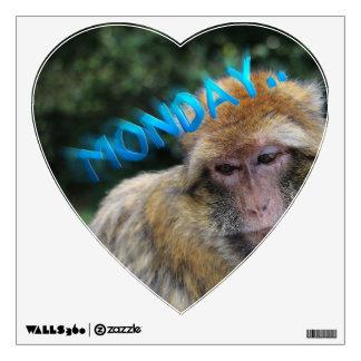 Monkey sad about monday wall sticker
