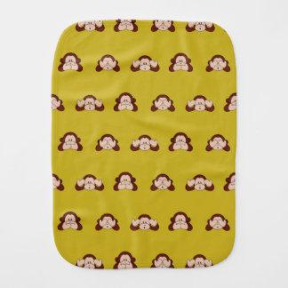 Monkey See, Hear, Speak No Evil Pattern Burp Cloth