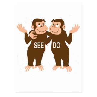 Monkey See Monkey Do (1) Postcard