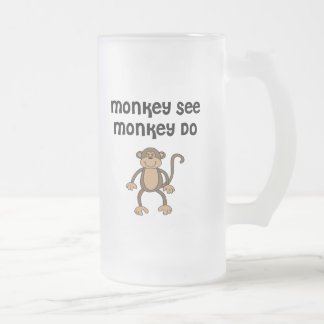 Monkey See, Monkey Do Frosted Glass Beer Mug