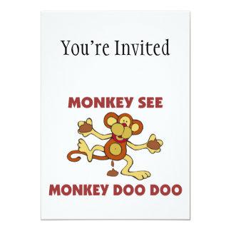 """Monkey See Monkey Doo Doo 5"""" X 7"""" Invitation Card"""