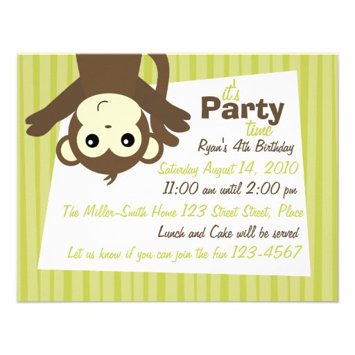 Monkey-Side-Down Invitations
