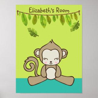 Monkey Sitting Down Cute & Kawaii Poster