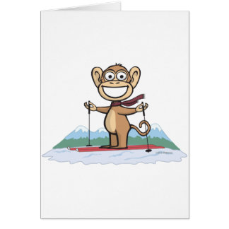 Monkey Skiing Card