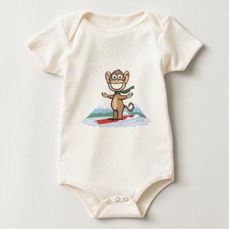 Monkey Snowboarder Baby Bodysuit