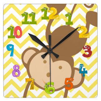 Monkey Square Wall Clock