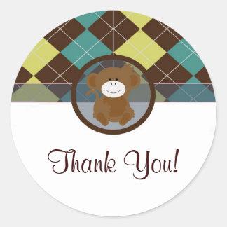 monkey sticker blue brown cute  sweet thank you
