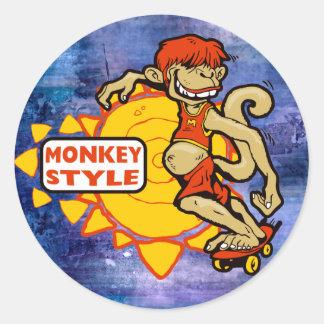 Monkey Styles Skateboarding Gear Round Sticker