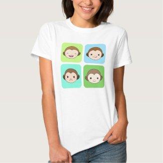 Monkey T-shirt Cute Funny Happy Monkeys Graphic