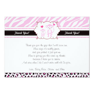 Monkey Thank You Card Note Pink