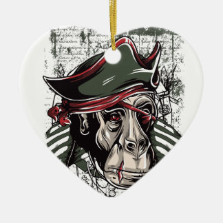 monkey the pirate cute design ceramic ornament